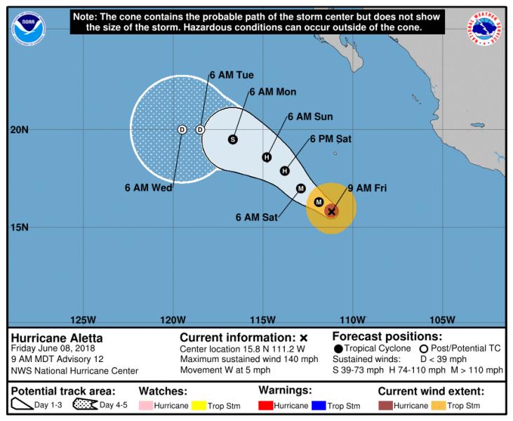 Prognozowana trasa przejścia huraganu Aletta (NHC)