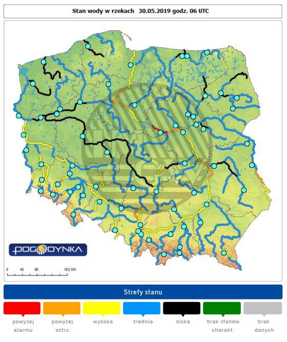 Stan wody w rzekach w Polsce o godzinie 8 (pogodynka.pl/polska/hydro)