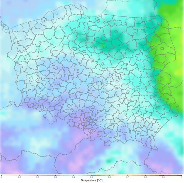 Porównanie średniej dobowej temperatury zimą dla dekady 2021-2030 do dekady 2011-2020 według scenariusza RCP4.5 (klimada2.ios.gov.pl)