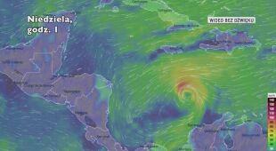 Prognozowana trasa burzy tropikalnej Jota (Ventusky.com)