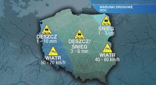 Warunki drogowe na noc 24/25.02